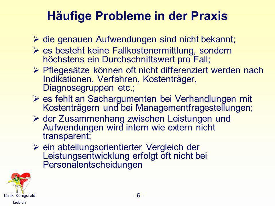 Klinik Königsfeld Liebich - 5 - Klinik Königsfeld Liebich - 5 - Häufige Probleme in der Praxis die genauen Aufwendungen sind nicht bekannt; es besteht