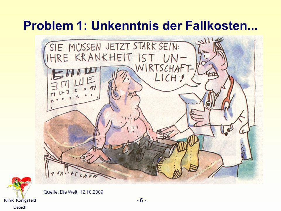 Klinik Königsfeld Liebich - 6 - Klinik Königsfeld Liebich - 6 - Problem 1: Unkenntnis der Fallkosten... Quelle: Die Welt, 12.10.2009