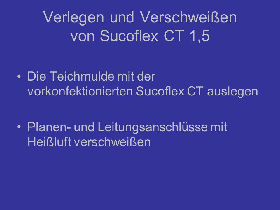 Verlegen und Verschweißen von Sucoflex CT 1,5 Die Teichmulde mit der vorkonfektionierten Sucoflex CT auslegen Planen- und Leitungsanschlüsse mit Heißl