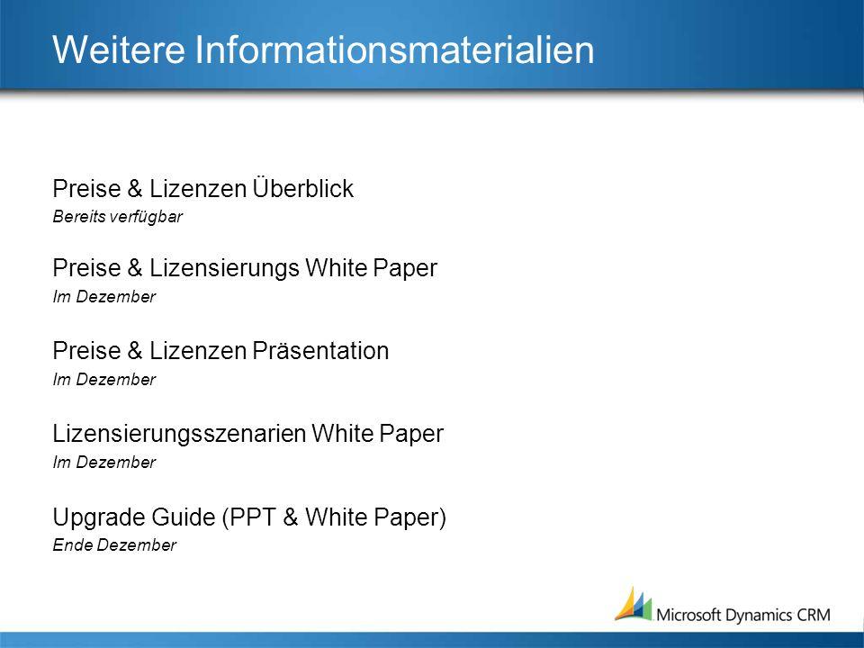 Weitere Informationsmaterialien Preise & Lizenzen Überblick Bereits verfügbar Preise & Lizensierungs White Paper Im Dezember Preise & Lizenzen Präsent
