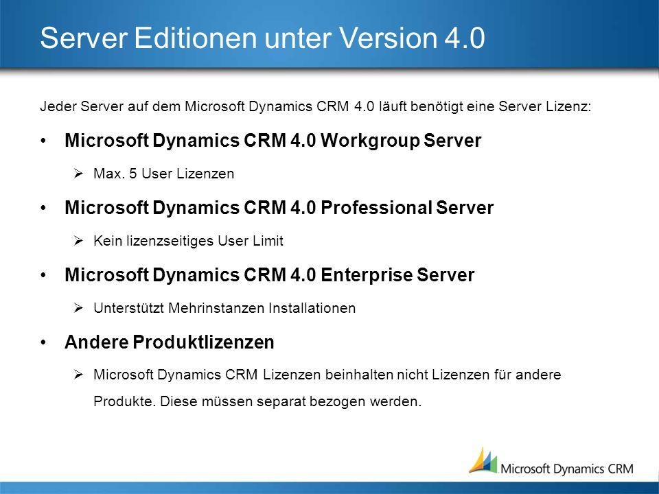 Server Editionen unter Version 4.0 Jeder Server auf dem Microsoft Dynamics CRM 4.0 läuft benötigt eine Server Lizenz: Microsoft Dynamics CRM 4.0 Workgroup Server Max.