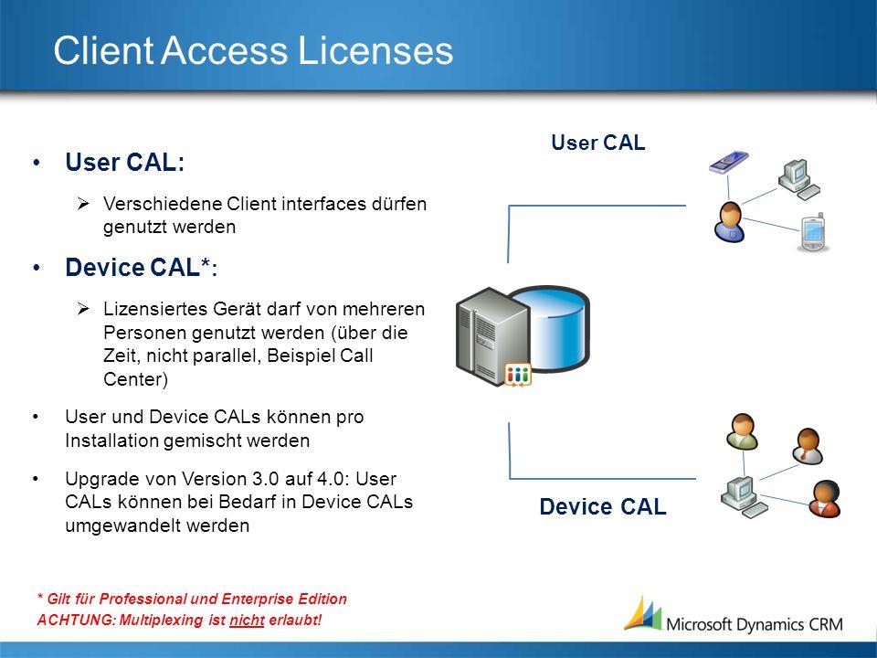 Client Access Licenses User CAL: Verschiedene Client interfaces dürfen genutzt werden Device CAL* : Lizensiertes Gerät darf von mehreren Personen genutzt werden (über die Zeit, nicht parallel, Beispiel Call Center) User und Device CALs können pro Installation gemischt werden Upgrade von Version 3.0 auf 4.0: User CALs können bei Bedarf in Device CALs umgewandelt werden * Gilt für Professional und Enterprise Edition ACHTUNG: Multiplexing ist nicht erlaubt.
