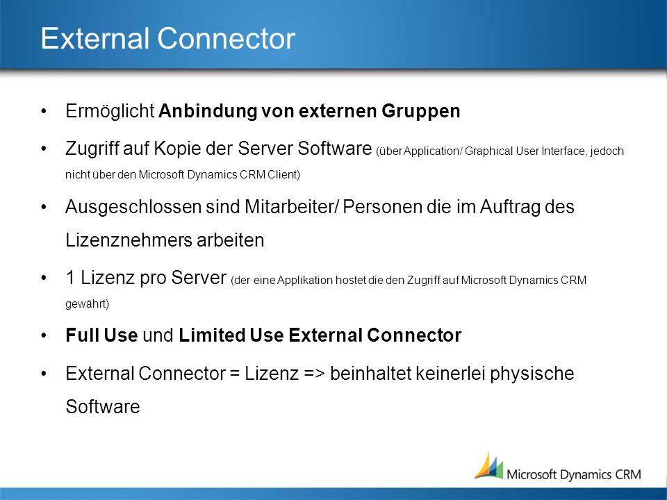 External Connector Ermöglicht Anbindung von externen Gruppen Zugriff auf Kopie der Server Software (über Application/ Graphical User Interface, jedoch