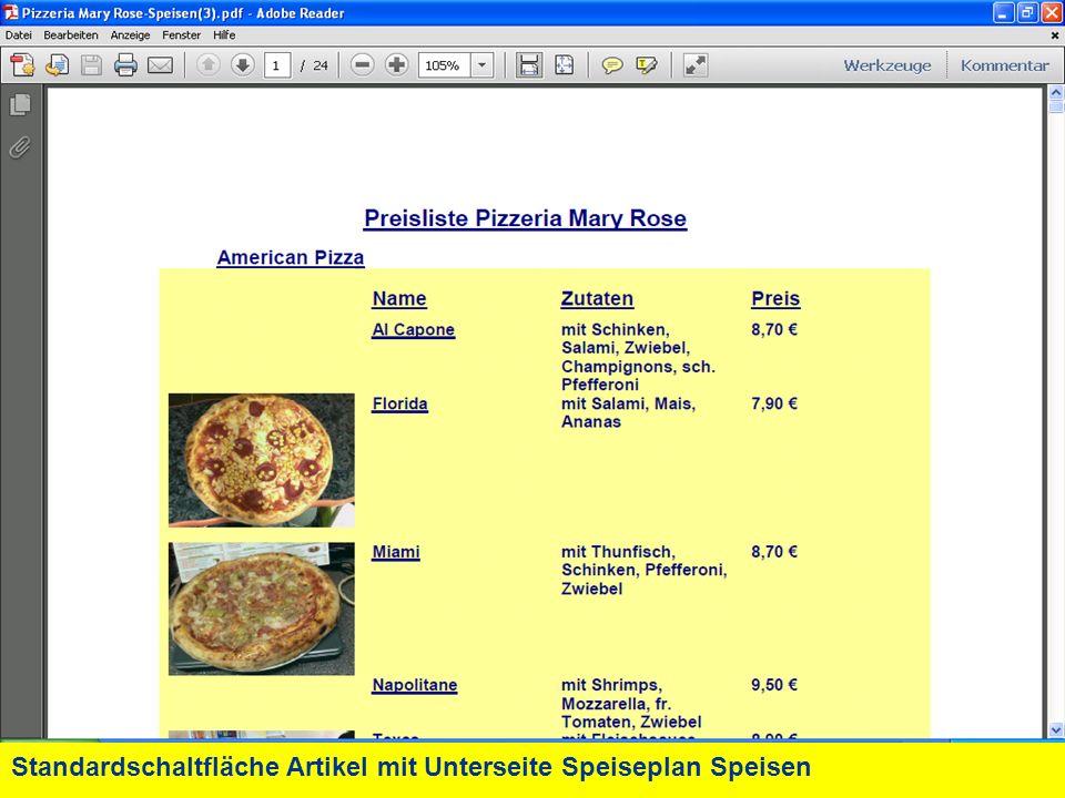 Standardschaltfläche Artikel mit Unterseite Speiseplan Speisen