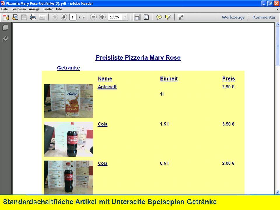 Standardschaltfläche Artikel mit Unterseite Speiseplan Getränke