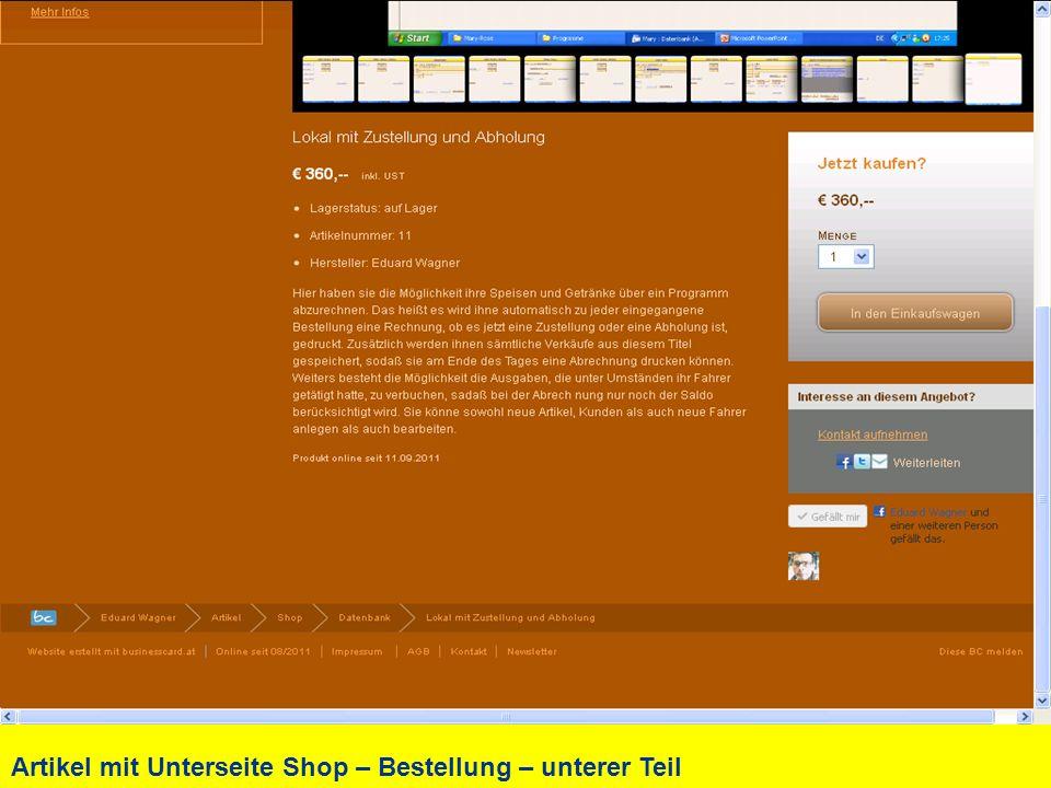 Artikel mit Unterseite Shop – Bestellung – unterer Teil