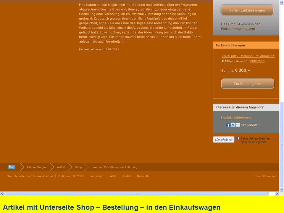 Artikel mit Unterseite Shop – Bestellung – in den Einkaufswagen