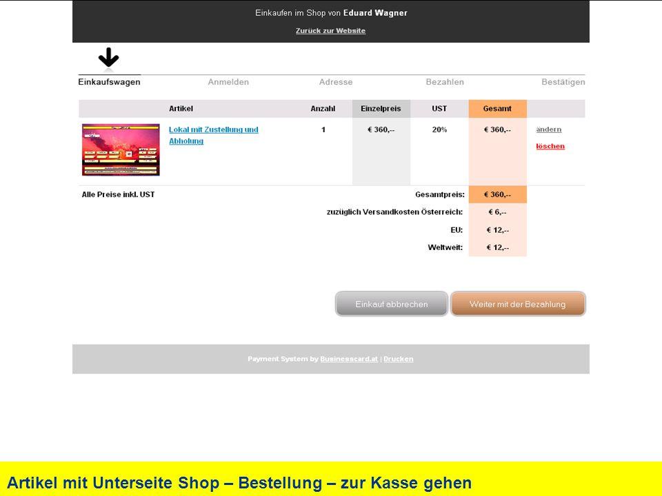 Artikel mit Unterseite Shop – Bestellung – zur Kasse gehen