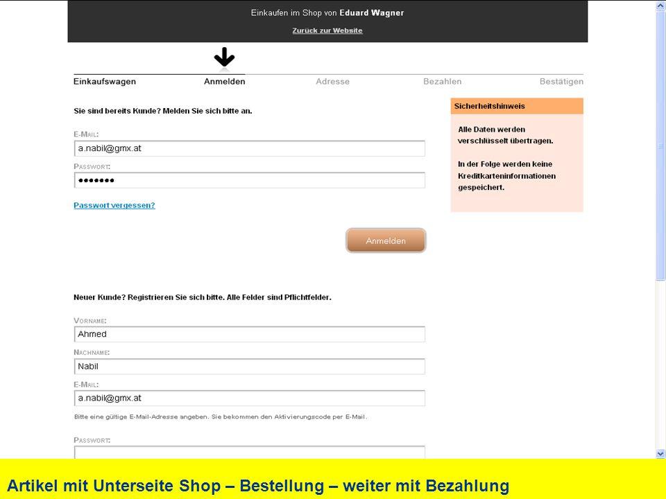 Artikel mit Unterseite Shop – Bestellung – weiter mit Bezahlung