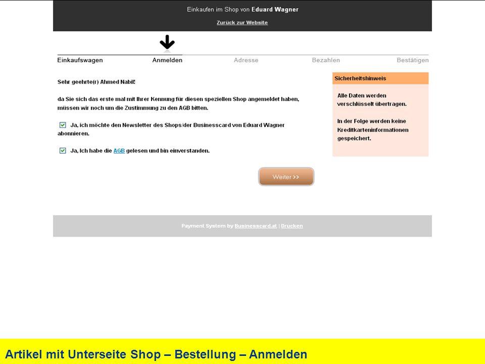 Artikel mit Unterseite Shop – Bestellung – Anmelden
