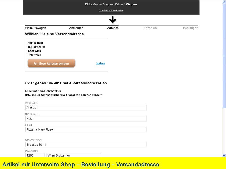 Artikel mit Unterseite Shop – Bestellung – Versandadresse