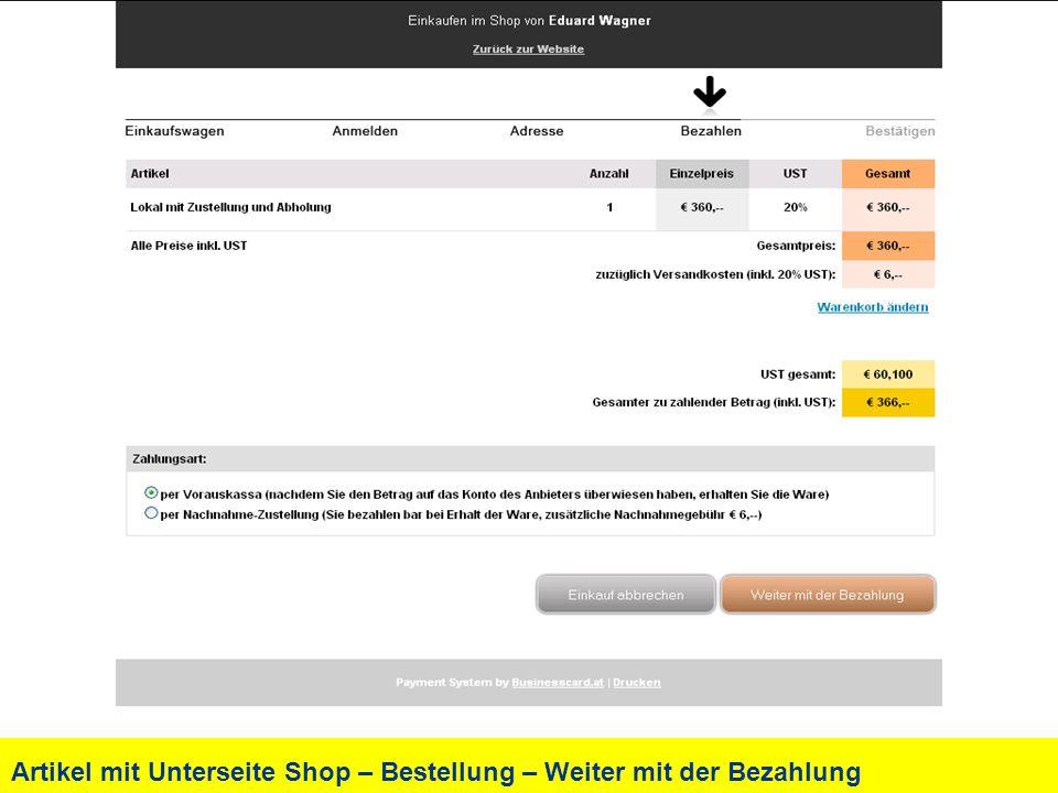 Artikel mit Unterseite Shop – Bestellung – Weiter mit der Bezahlung