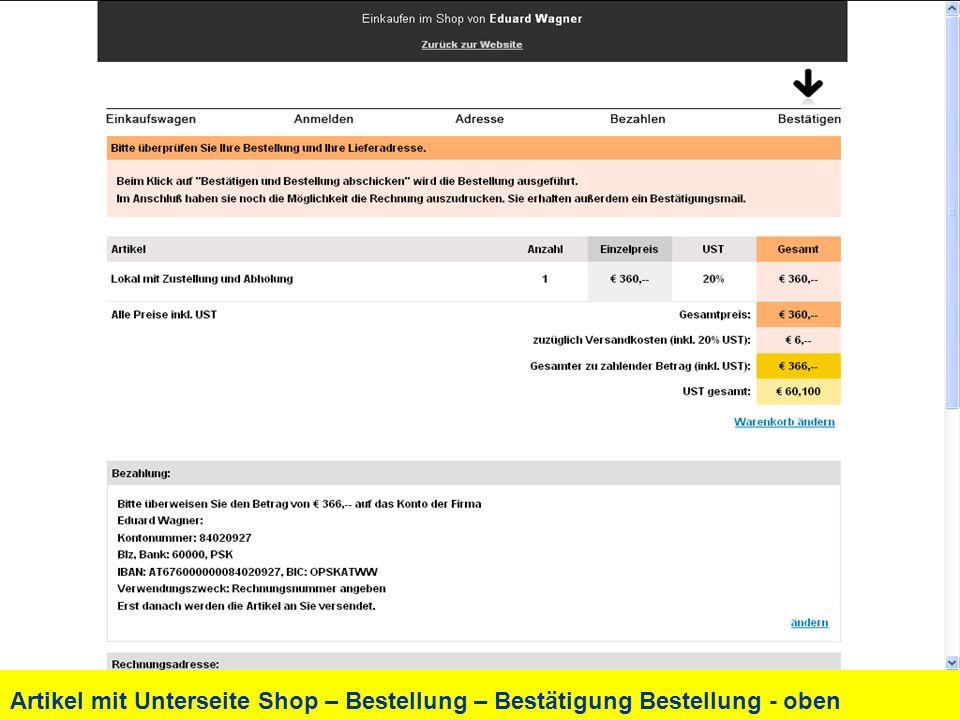 Artikel mit Unterseite Shop – Bestellung – Bestätigung Bestellung - oben