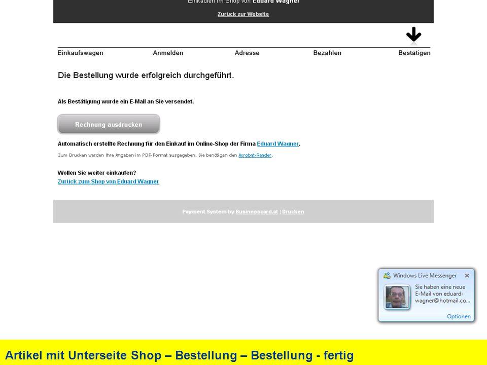 Artikel mit Unterseite Shop – Bestellung – Bestellung - fertig