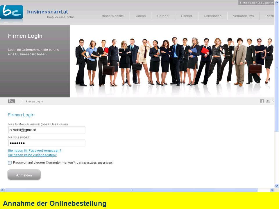 Annahme der Onlinebestellung