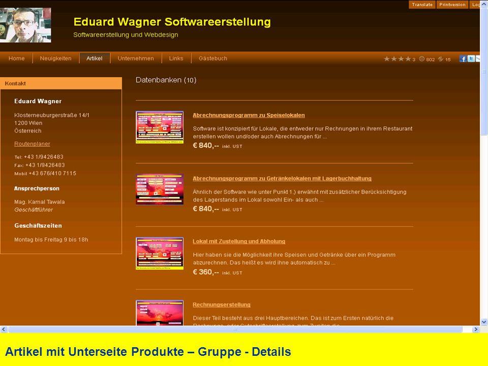 Artikel mit Unterseite Produkte – Gruppe - Details