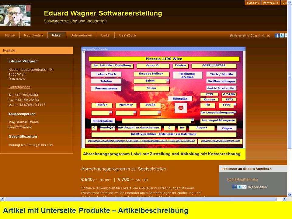 Artikel mit Unterseite Produkte – Artikelbeschreibung