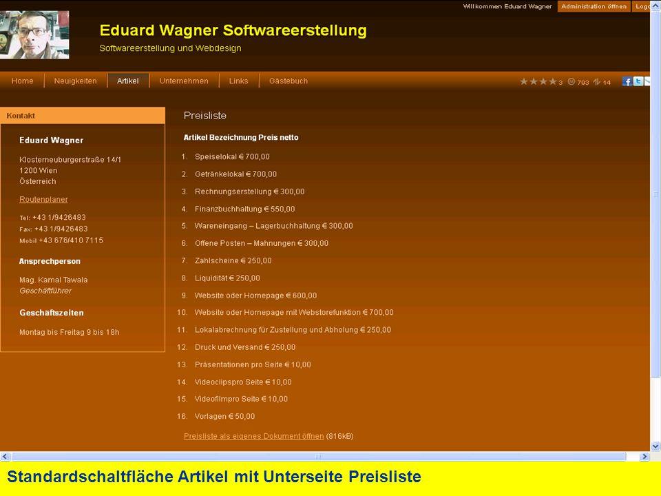 Standardschaltfläche Artikel mit Unterseite Preisliste - Download