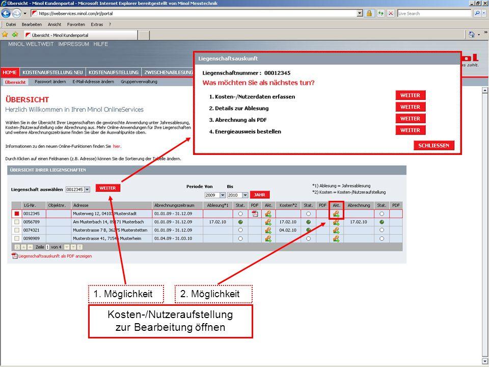 Kosten-/Nutzeraufstellung zur Bearbeitung öffnen 1. Möglichkeit2. Möglichkeit