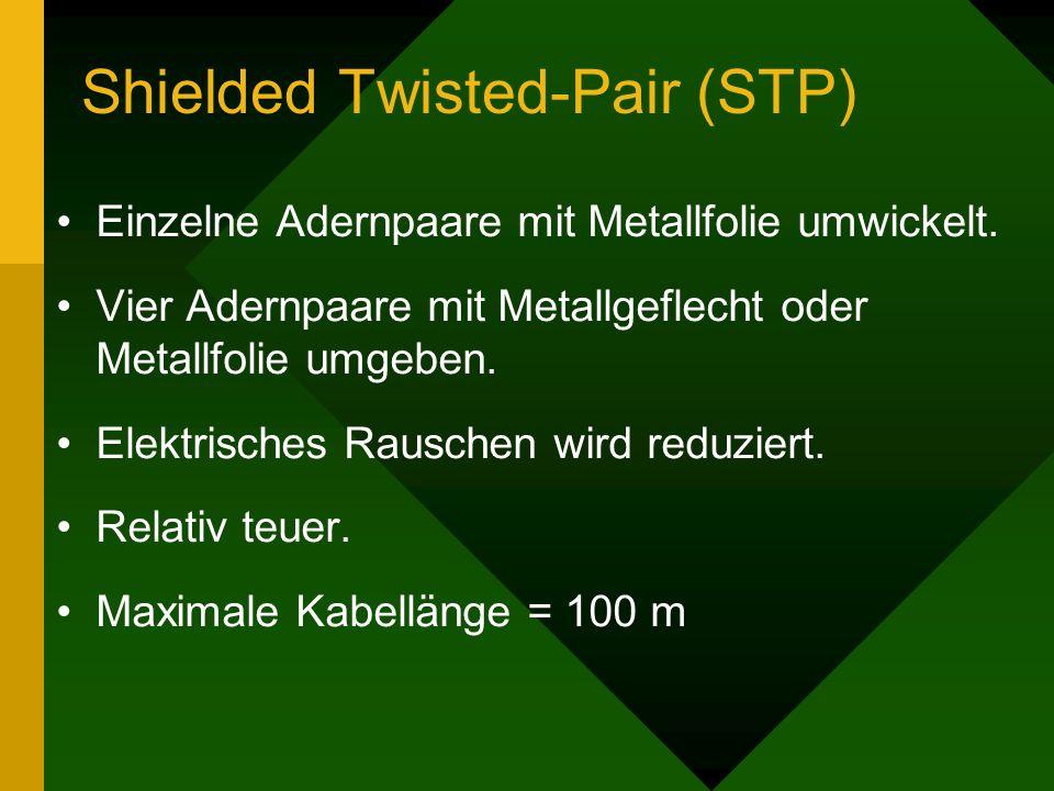 Shielded Twisted-Pair (STP) Einzelne Adernpaare mit Metallfolie umwickelt. Vier Adernpaare mit Metallgeflecht oder Metallfolie umgeben. Elektrisches R