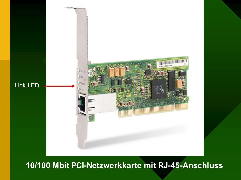 10/100 Mbit PCI-Netzwerkkarte mit RJ-45-Anschluss Link-LED