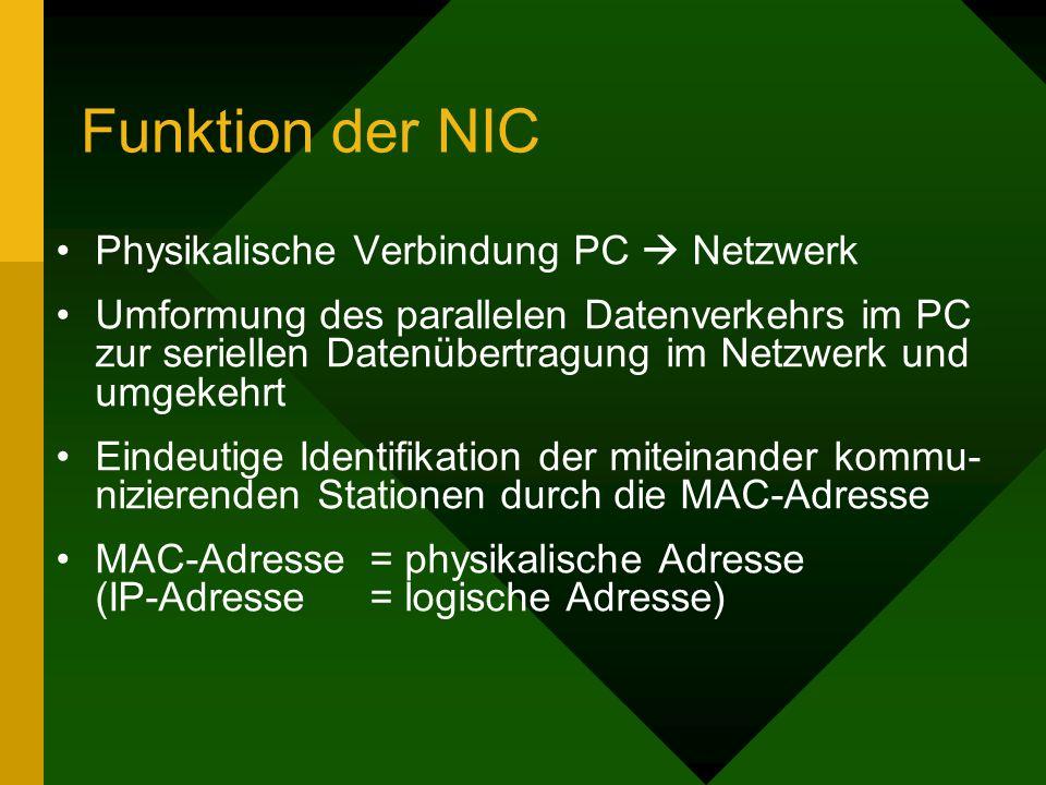 Funktion der NIC Physikalische Verbindung PC Netzwerk Umformung des parallelen Datenverkehrs im PC zur seriellen Datenübertragung im Netzwerk und umge