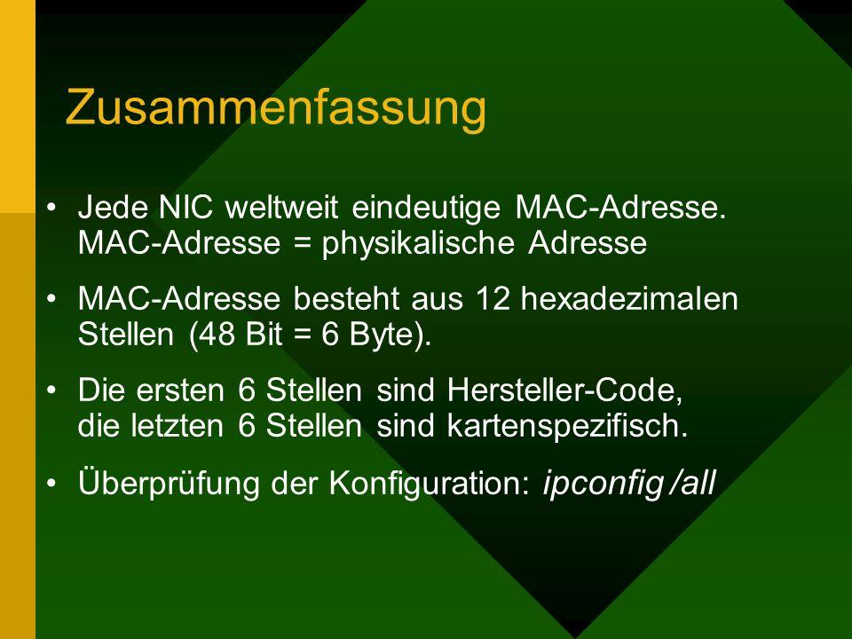 Zusammenfassung Jede NIC weltweit eindeutige MAC-Adresse. MAC-Adresse = physikalische Adresse MAC-Adresse besteht aus 12 hexadezimalen Stellen (48 Bit