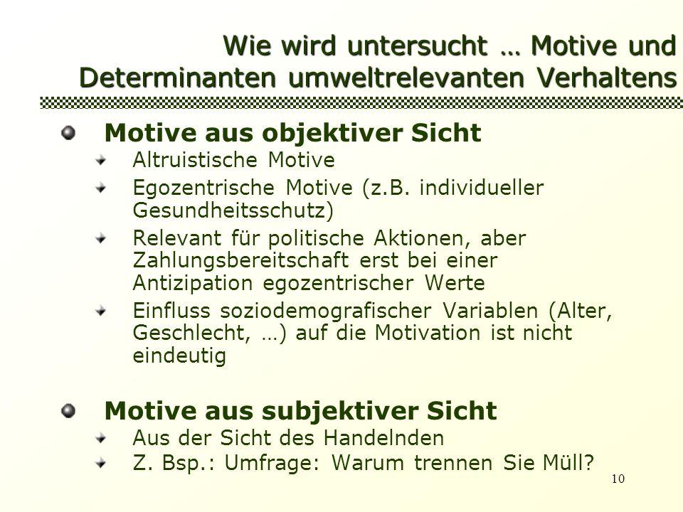 10 Wie wird untersucht … Motive und Determinanten umweltrelevanten Verhaltens Motive aus objektiver Sicht Altruistische Motive Egozentrische Motive (z