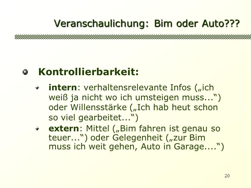 20 Veranschaulichung: Bim oder Auto??? Kontrollierbarkeit: intern: verhaltensrelevante Infos (ich weiß ja nicht wo ich umsteigen muss...) oder Willens