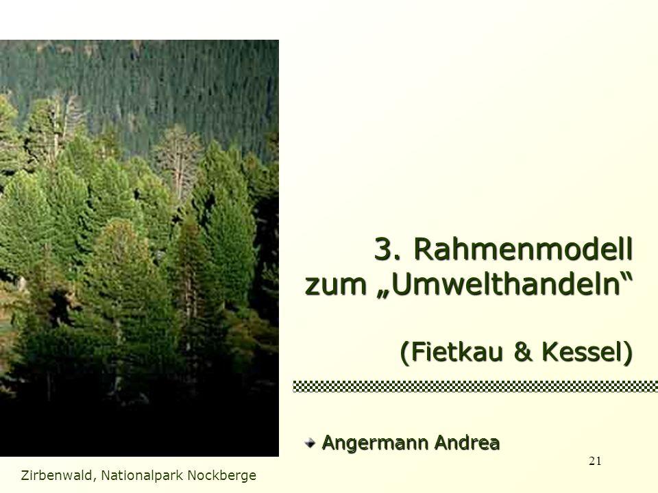 21 3. Rahmenmodell zum Umwelthandeln (Fietkau & Kessel) Zirbenwald, Nationalpark Nockberge Angermann Andrea Angermann Andrea