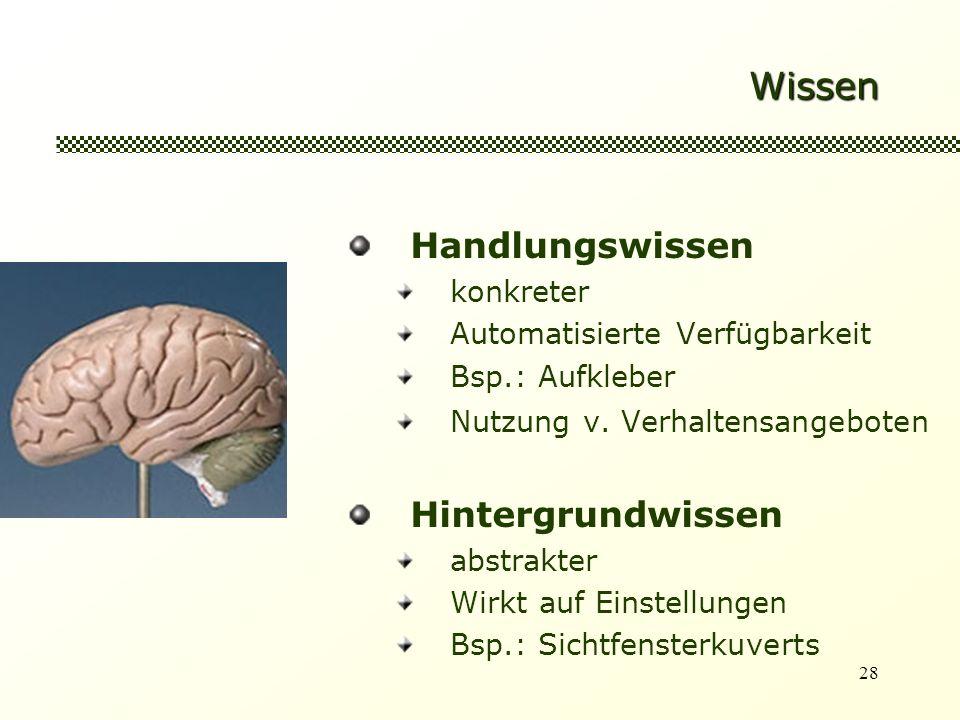 28 Wissen Handlungswissen konkreter Automatisierte Verfügbarkeit Bsp.: Aufkleber Nutzung v.