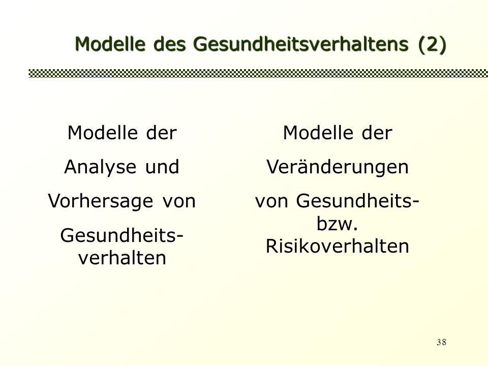 38 Modelle des Gesundheitsverhaltens (2) Modelle der Analyse und Vorhersage von Gesundheits- verhalten Modelle der Veränderungen von Gesundheits- bzw.