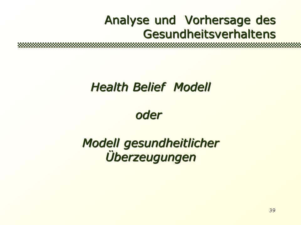 39 Analyse und Vorhersage des Gesundheitsverhaltens Health Belief Modell oder oder Modell gesundheitlicher Überzeugungen