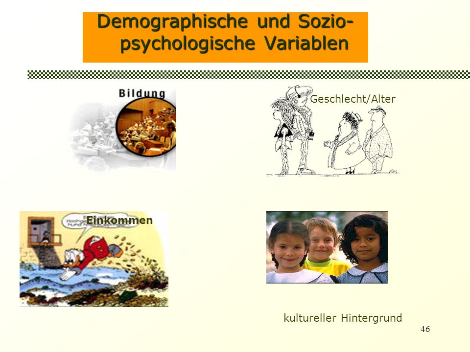 46 Demographische und Sozio- psychologische Variablen Geschlecht/Alter Einkommen kultureller Hintergrund