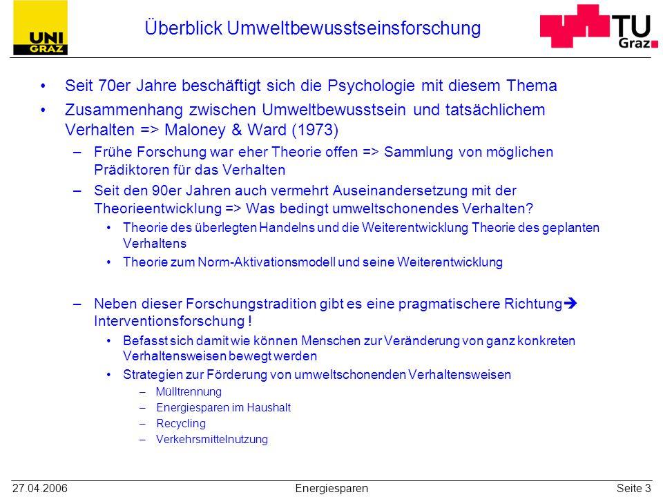 27.04.2006EnergiesparenSeite 3 Überblick Umweltbewusstseinsforschung Seit 70er Jahre beschäftigt sich die Psychologie mit diesem Thema Zusammenhang zw