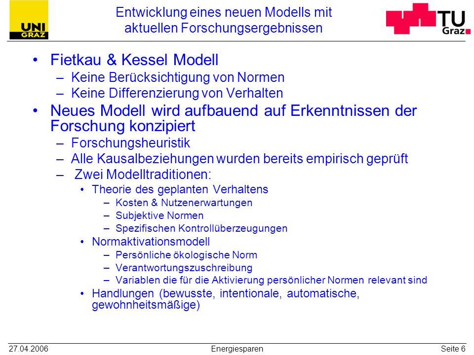 27.04.2006EnergiesparenSeite 6 Entwicklung eines neuen Modells mit aktuellen Forschungsergebnissen Fietkau & Kessel Modell –Keine Berücksichtigung von