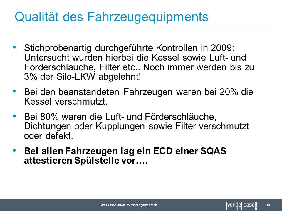 Site Presentation - Wesseling/Knapsack 13 Qualität des Fahrzeugequipments Stichprobenartig durchgeführte Kontrollen in 2009: Untersucht wurden hierbei