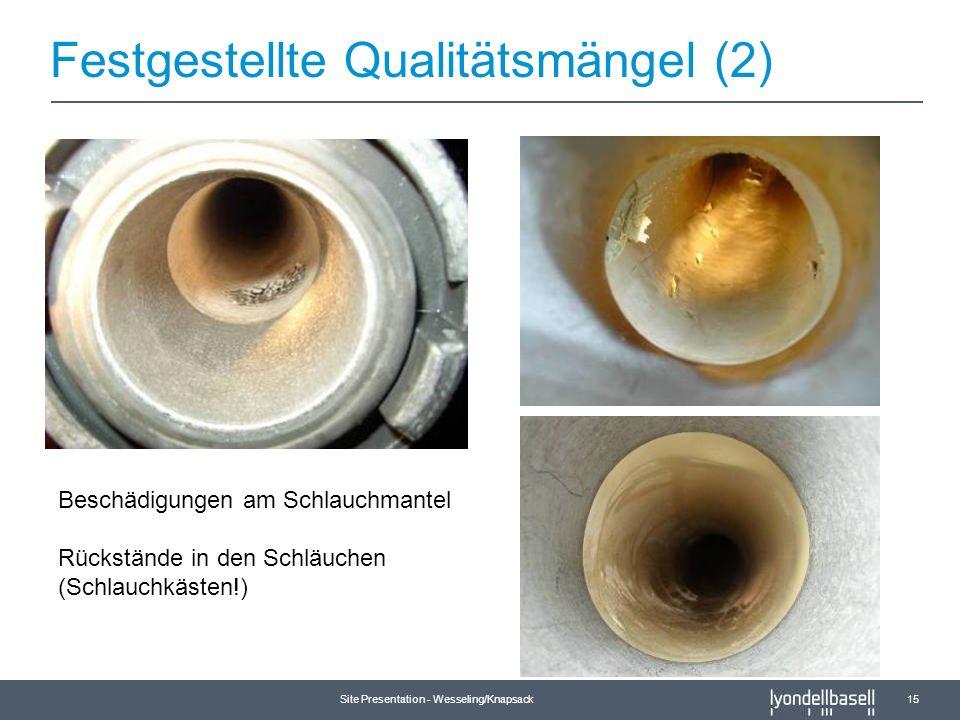 Site Presentation - Wesseling/Knapsack 15 Beschädigungen am Schlauchmantel Rückstände in den Schläuchen (Schlauchkästen!) Festgestellte Qualitätsmänge