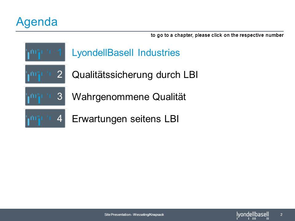 Site Presentation - Wesseling/Knapsack 2 Agenda Erwartungen seitens LBI 4 Qualitätssicherung durch LBI 2 LyondellBasell Industries 1 to go to a chapte