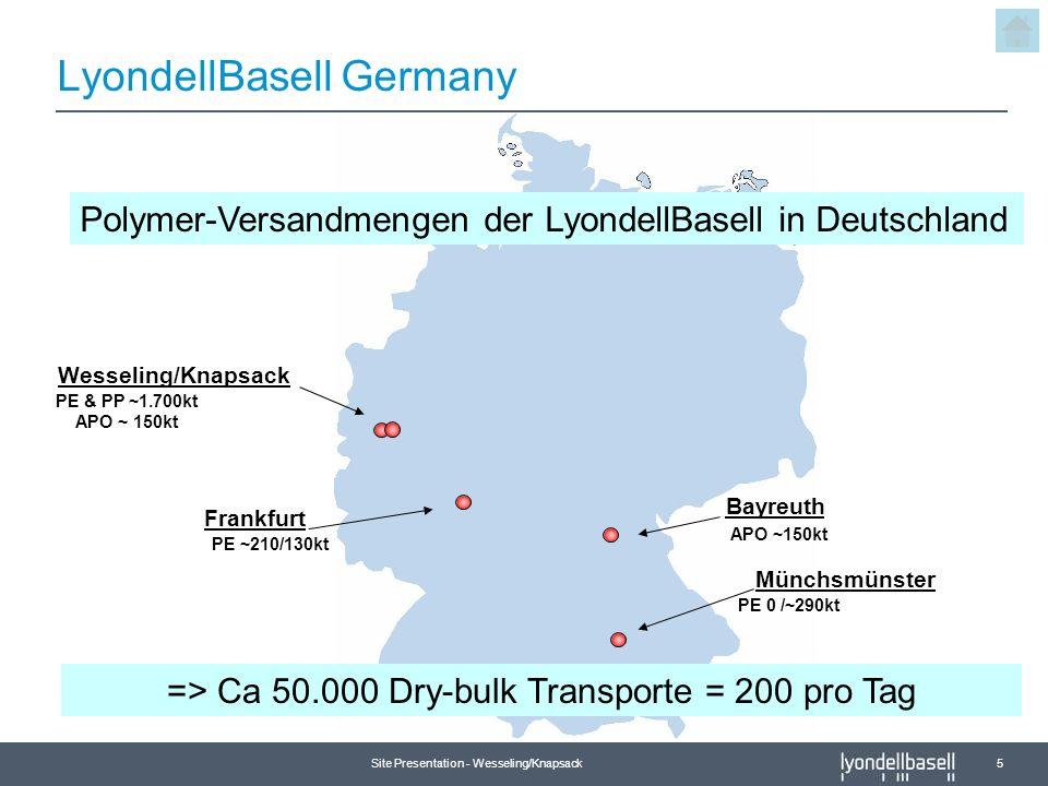 Site Presentation - Wesseling/Knapsack 5 LyondellBasell Germany Wesseling/Knapsack Frankfurt Bayreuth Münchsmünster APO ~150kt PE ~210/130kt PE 0 /~29