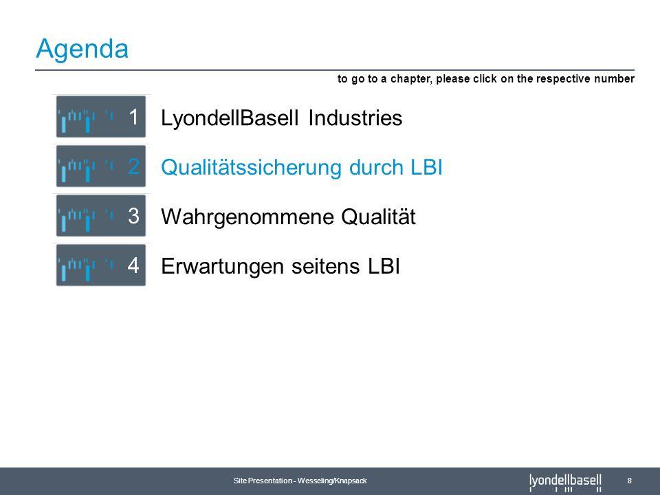 Site Presentation - Wesseling/Knapsack 8 Agenda Erwartungen seitens LBI 4 Qualitätssicherung durch LBI 2 LyondellBasell Industries 1 to go to a chapte