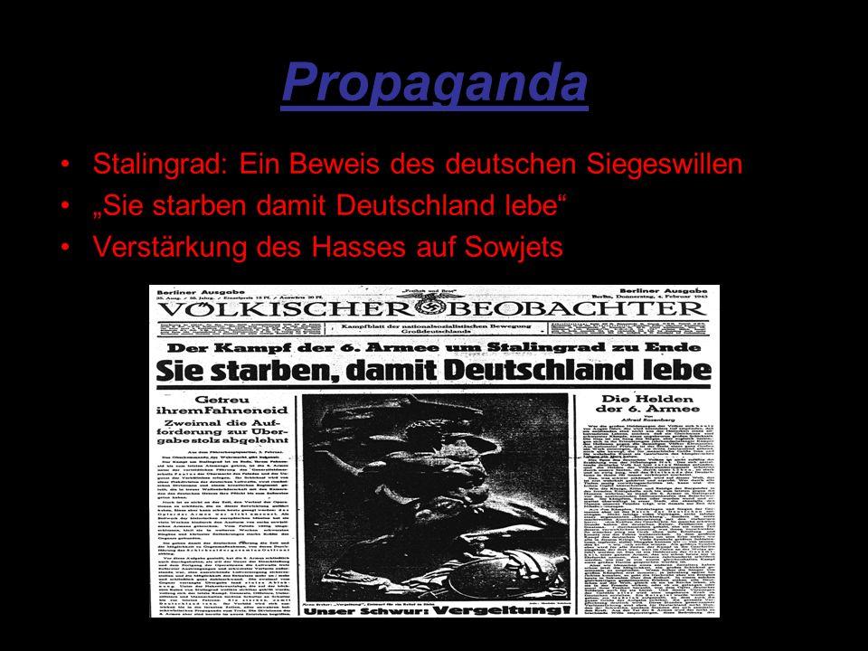 Propaganda Stalingrad: Ein Beweis des deutschen Siegeswillen Sie starben damit Deutschland lebe Verstärkung des Hasses auf Sowjets