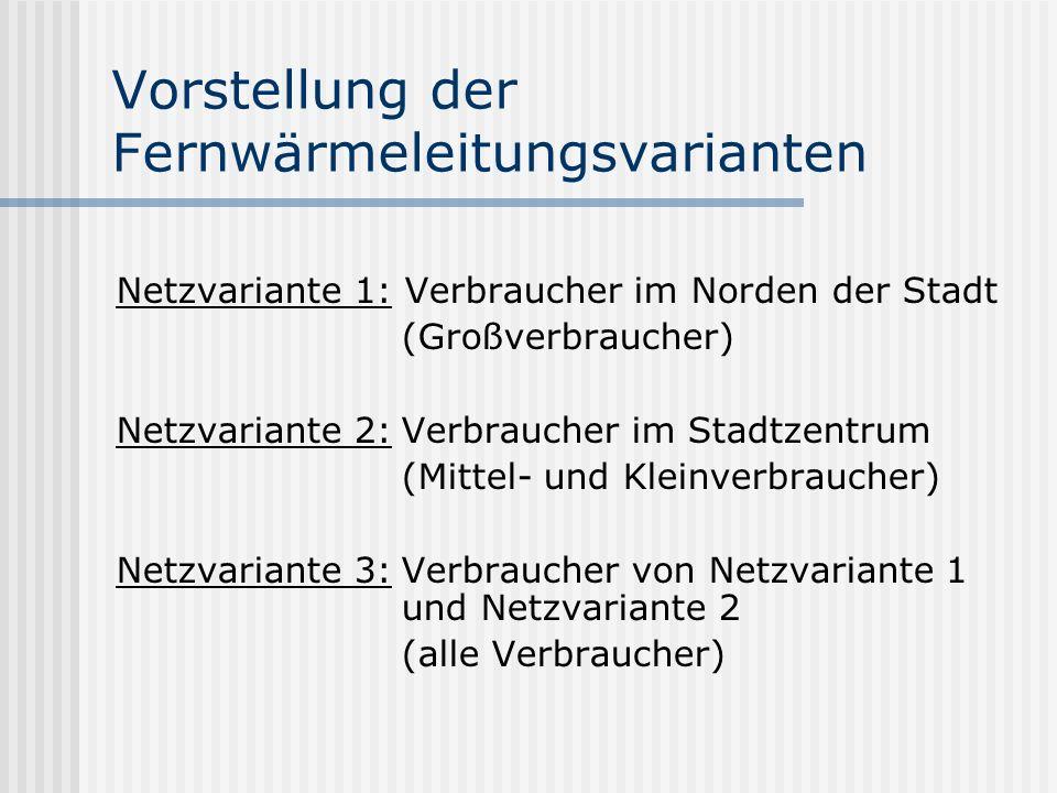 Vorstellung der Fernwärmeleitungsvarianten Netzvariante 1: Verbraucher im Norden der Stadt (Großverbraucher) Netzvariante 2:Verbraucher im Stadtzentrum (Mittel- und Kleinverbraucher) Netzvariante 3:Verbraucher von Netzvariante 1 und Netzvariante 2 (alle Verbraucher)