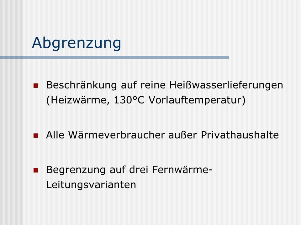 Abgrenzung Beschränkung auf reine Heißwasserlieferungen (Heizwärme, 130°C Vorlauftemperatur) Alle Wärmeverbraucher außer Privathaushalte Begrenzung auf drei Fernwärme- Leitungsvarianten -