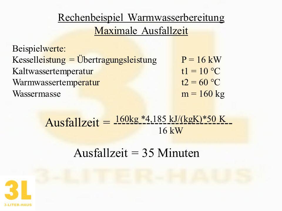 Rechenbeispiel Warmwasserbereitung Maximale Ausfallzeit Ausfallzeit = ----------------------------- Beispielwerte: Kesselleistung = Übertragungsleistu