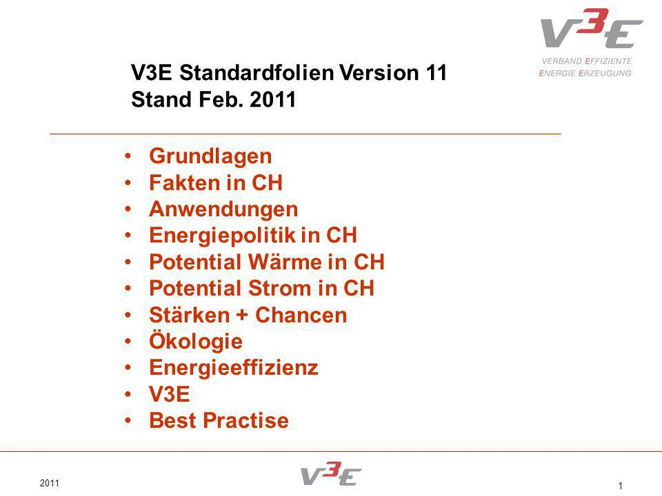 2011 1 V3E Standardfolien Version 11 Stand Feb. 2011 Grundlagen Fakten in CH Anwendungen Energiepolitik in CH Potential Wärme in CH Potential Strom in