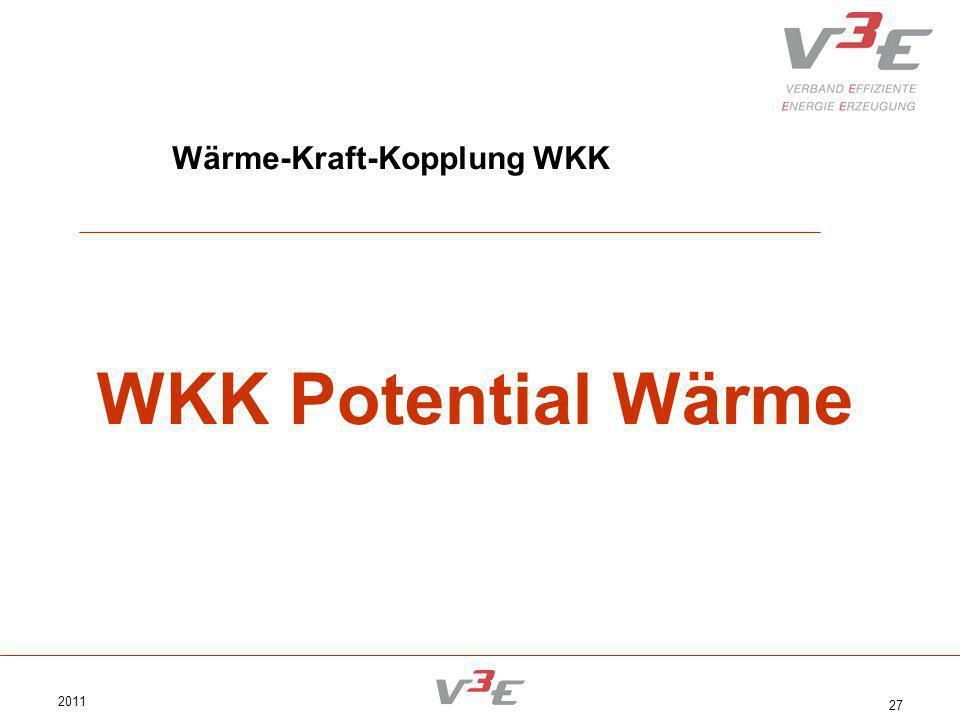 2011 27 Wärme-Kraft-Kopplung WKK WKK Potential Wärme