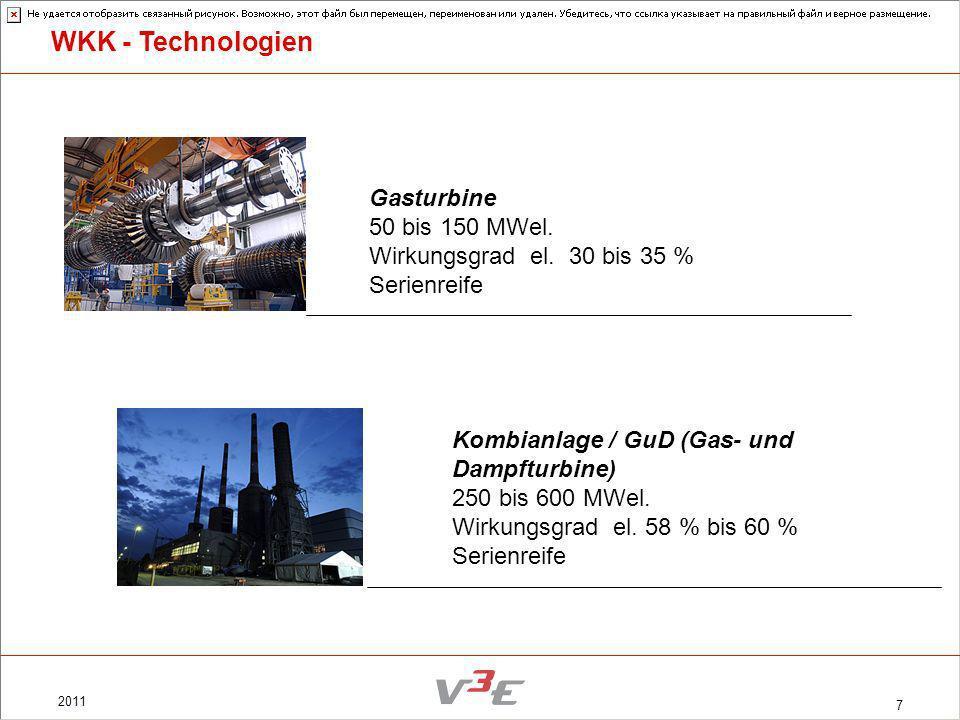 2011 7 Gasturbine 50 bis 150 MWel. Wirkungsgrad el. 30 bis 35 % Serienreife Kombianlage / GuD (Gas- und Dampfturbine) 250 bis 600 MWel. Wirkungsgrad e