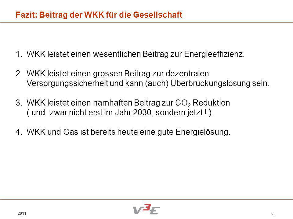 2011 80 Fazit: Beitrag der WKK für die Gesellschaft 1.WKK leistet einen wesentlichen Beitrag zur Energieeffizienz. 2.WKK leistet einen grossen Beitrag