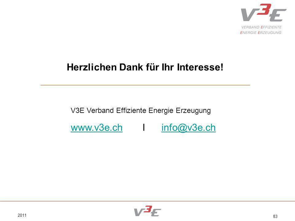 2011 83 Herzlichen Dank für Ihr Interesse! V3E Verband Effiziente Energie Erzeugung www.v3e.chwww.v3e.ch I info@v3e.chinfo@v3e.ch